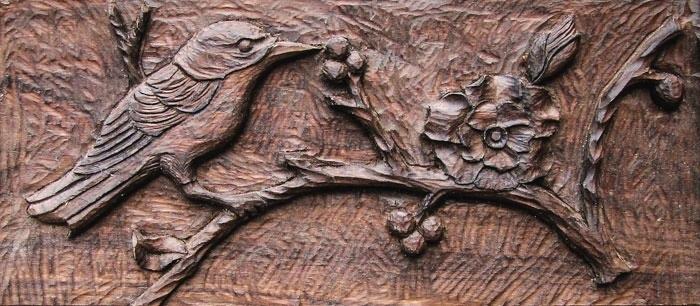 Walnut bird and flower jim schoenecker custom wood carving